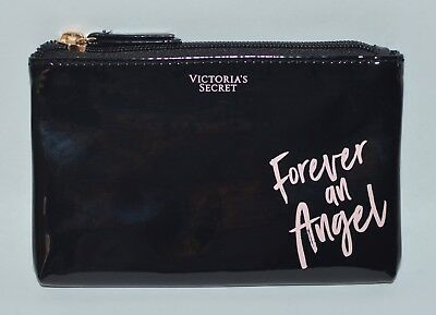 Victoria's Secret Black Forever An Angel Lip Gloss Bag Cosmetic Zip Coin Pouch