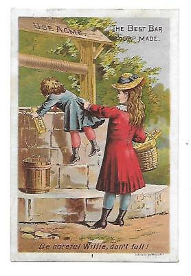 1880S Acme Bar Soap Victorian Trade Card Girl & Boy At Well