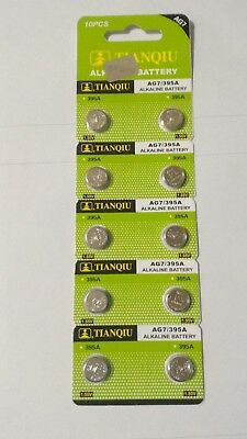 10 Pack AG7 395 399 LR926 LR927 LR57 D395 1.5V Alkaline Battery Watch