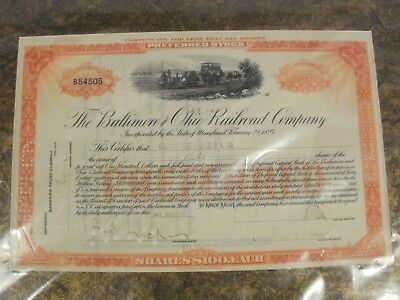 Vintage Baltimore & Ohio Railroad stock certificate 1926 - preferred