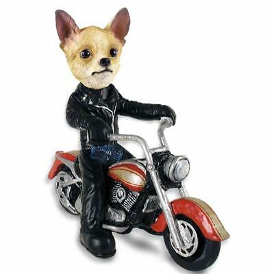 Tan and White Chihuahua on a Motorcycle Collectible Resin Figurine Statue