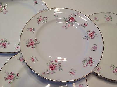 4 Crown Staffordshire Salad Plates CRS15 Bone China 18129 Pink Rose w Gold Trim