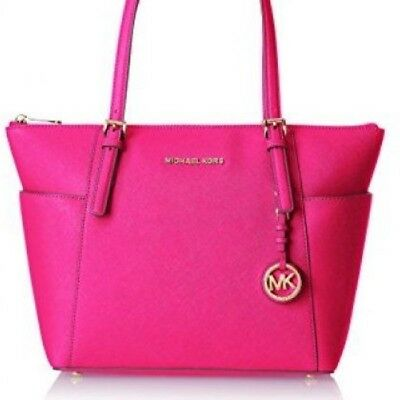 New Michael Kors Jet Set East West Zip saffiano leather bag Raspberry Pink tote