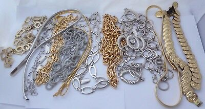 Twelve Vtg. Gold & Silver Tone Metal Wearable-Resuse- Craft-Stretch-Chain Belts
