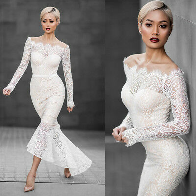 Elegant White Slash Neck Trumpet Party Dress, Delivery In About 18 Days.