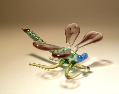 Blown Glass Art Insect Figurine Small Purple and Green with Blue Eyes DRAGONFLY