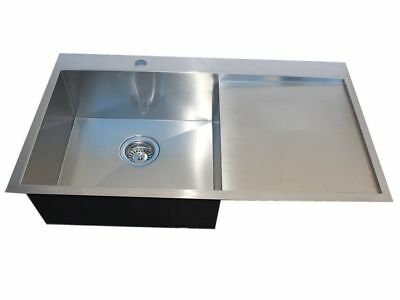 304 Handmade Stainless Steel Kitchen Sink Single Bowl with Drainer (86m x 50cm)
