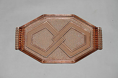 Vintage Art Deco Octagonal Glass Tray Platter French France Pink Salmon Coctail