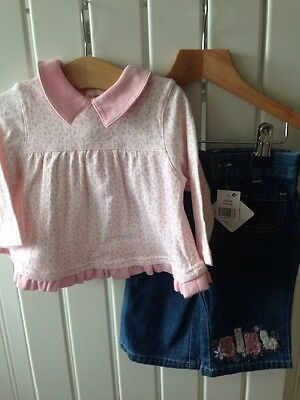 Baby Girl's Clothes 3-6 Months - 2pc Tunic Top & Jeans Outfit Inc BNWT