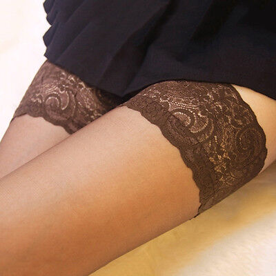 Sexy Women Sheer Lace Top Stay Up Stockings Thigh High Pantyhose Hold-up