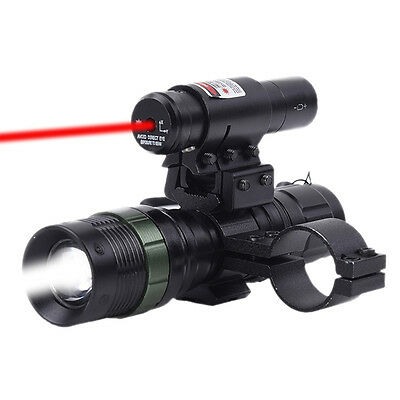 Tactical Red Dot Laser CREE LED Zoomable Flashlight Sight Rifle Ring Wrench