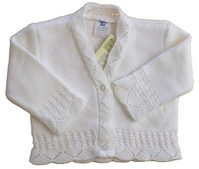 Pretty White Knitted Baby Girls Lacy Cardigan Infant Girl Party Christening