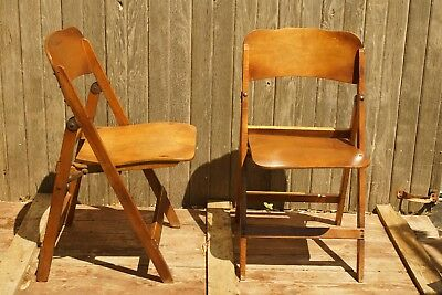 Pair of Mid Century Wooden Folding Chairs, Nice Set! Local Pick Up