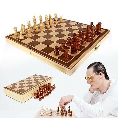 1Set Vintage Wooden Pieces Chess Set Folding Board Box Wood Hand Carved Toy
