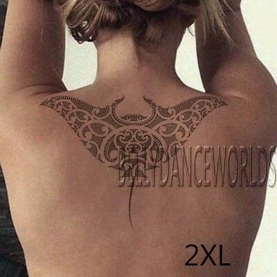 Maori Polynesian Manta Ray Devil Fish Tribal Temporary Tattoo Waterproof Sticker