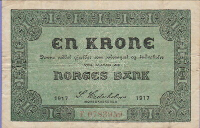 Norway 1 Krone Banknote 1917,Nice Very Fine Condition Cat#13-A-3959
