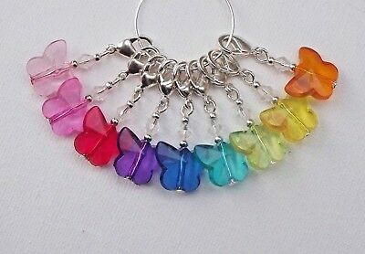 9 x Colourful Butterfly KNITTING or CROCHET Stitch Markers - CLAWS