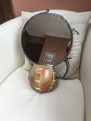 Unusual Period Art Deco Mirror 1930s With Ceramic Wall Pocket