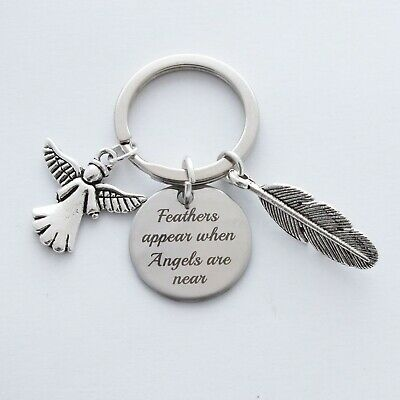 'Feathers appear when angels are near' angel, memorial keepsake, rhodium charms