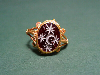 Ancient Astrology Ring Gold & Cornelian Zodiac Crescent & Stars Roman 100-300 Ad