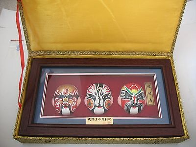 Chinese Set of 3 Hand Painted Clay Face Mask w/ Frame Desk or wall Hanging Decor