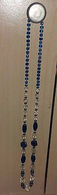 Vintage Beaded Necklace Blue And Clear Plastic 16""