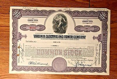 "Vintage Stock Certificate ""Virginia Electric and Power Company"""