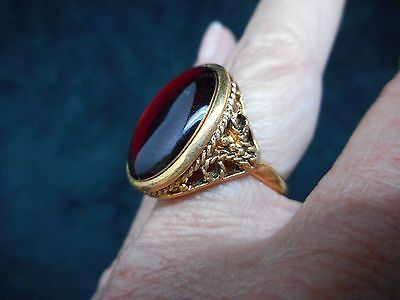 Authentic Vintage-1960's Antique Bronze w/Red Focal Filigree Ring ADJUSTABLE