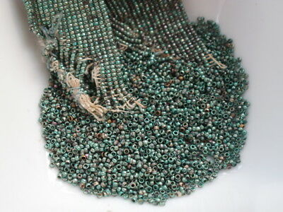 Antique French Steel Cut Beads Loose Metal Micro Tubes Green Aqua Silver 38Bpi