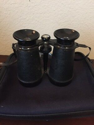 Vintage Binoculars Made in Japan Lightweight w/ Canvas And Leather Trim case