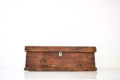 Antique Large Primitive Handcrafted Wooden Toolbox Box Vintage