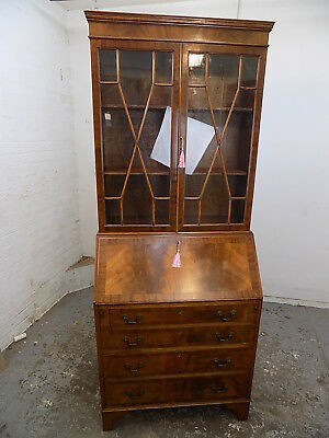 bureau,bookcase,glazed,cabinet,shelves,drawers,desk,writing,small,vintage,maple