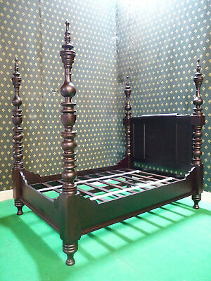 UK STOCK~ 4'6' Double Dark Mahogany Dutch Style Designer Four Poster canopy Bed