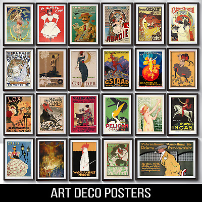 Vintage Retro Art Deco Posters A4 Or A3 200Gsm Gloss | Free Delivery
