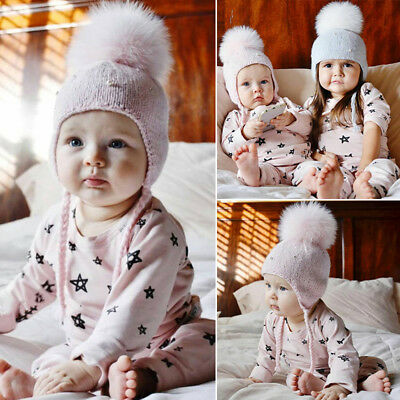 Newborn Baby Boy Girls Kids Knitted Pom Pom Hat Beanie Winter Bobble Earflap UK