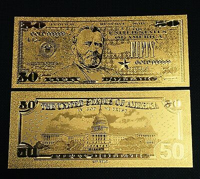 $50 .999 24kt Gold U.S Fifty Dollar Bill Banknote plus Sleeve Included