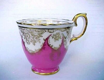 CROWN STAFFORDSHIRE Tea Cup Rare Antique Bone China Demitasse Pink White Gold