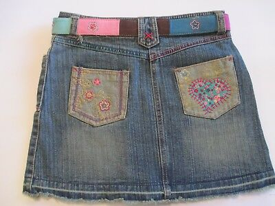 New Girls Size 12 Nickelodeon Unfabulous Belted Denim Skirt - Embroidered