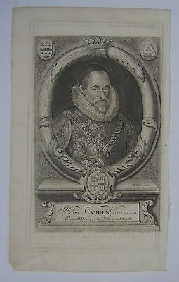 Camden's Britannia frontispiece: portrait of William Camden, 1623