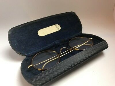 vintage 1920-30 Spectacles faux tortoiseshell gold tone flat round case glasses