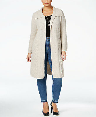 Style & Co. Womens Plus Size Cable-Knit Duster Cardigan 2X Hammock Heather
