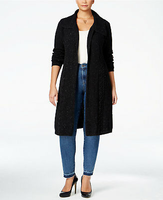 Style & Co. Womens Plus Size Cable-Knit Duster Cardigan 2X Deep Black
