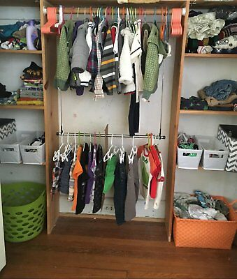 Double Closet Extender Rod Clothing Garment Rack Hanger Holder Storage  Organizer