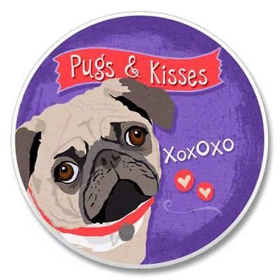 PUGS & KISSES Pug AbsorbaStone stone coaster for Car Truck SUV Made in USA NEW