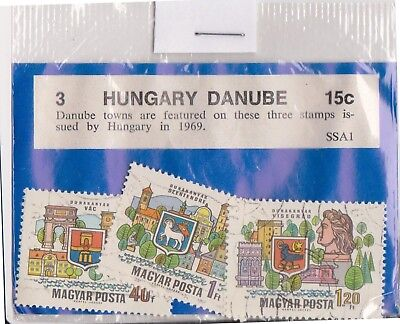 (V1-91) 1969 Hungary old stamp pack 3 stamps Danube (CP)
