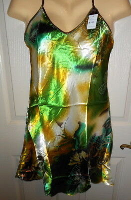 WOMEN'S SATIN CHEMISE NIGHTGOWN (SEE MEASUREMENTS), M, L & XL, Green print, NWT