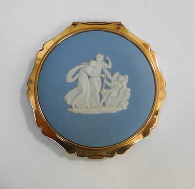 Wedgwood blue jasper, Stratton England vintage powder compact, never used A/F