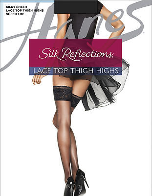 Hanes Silk Reflections Lace Top Thigh-High Barely There Stockings Size CD