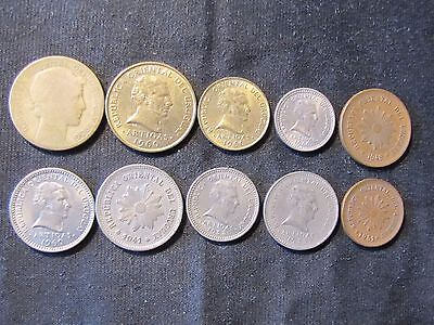 Lot of 10 Uruguay Centavos Coins - 1936 10, 1941 5, 1951 2, 1953 10, 1953 5