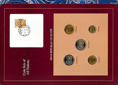 Coin Sets of All Nations Egypt w/card UNC 1984 1, 2, 5, 10, 20 Piastres